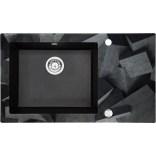 Zlewozmywak szklano-granitowy 86x50 Deante CAPELLA ZERO ZSC GB1C grafitowy metalik